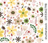 amazing floral vector seamless... | Shutterstock .eps vector #1055342798