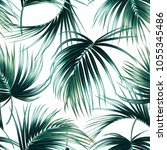 tropical palm leaves seamless... | Shutterstock .eps vector #1055345486