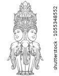 statue representing trimurti  ... | Shutterstock .eps vector #1055348552