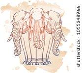 statue of three elephants.... | Shutterstock .eps vector #1055348966