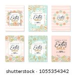 a set of 6 cards. easter sale... | Shutterstock .eps vector #1055354342