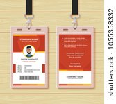 red employee id card design... | Shutterstock .eps vector #1055358332