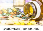 medicine pills or capsules on...   Shutterstock . vector #1055358902