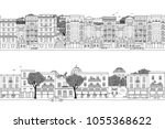 two hand drawn seamless city... | Shutterstock .eps vector #1055368622