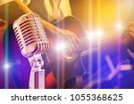 close up retro microphone with...   Shutterstock . vector #1055368625
