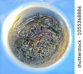 Small photo of Tiny Planet Drone Spherical areal Panorama of Achrafieh in Beirut, Lebanon