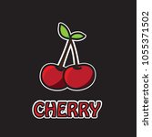 cherry icon isolated on black...