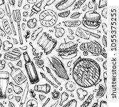 hand drawn vector seamless... | Shutterstock .eps vector #1055375255