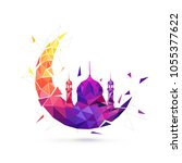 colorful moon and mosque on...   Shutterstock .eps vector #1055377622
