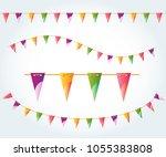 illustrated flag garland set.... | Shutterstock . vector #1055383808