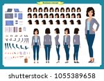 young woman  casual clothes.... | Shutterstock .eps vector #1055389658