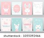 set of cute animals poster... | Shutterstock .eps vector #1055392466