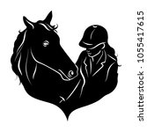 stylized silhouette of a horse... | Shutterstock .eps vector #1055417615