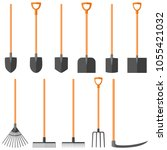 set of garden tools  shovel ... | Shutterstock .eps vector #1055421032