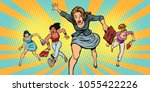 women running in panic for sale.... | Shutterstock .eps vector #1055422226