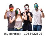 group of people supporters fans ... | Shutterstock . vector #1055422508