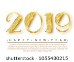 2019 happy new year. gold... | Shutterstock .eps vector #1055430215