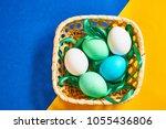 Multi colored boiled eggs in a...