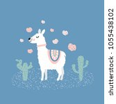 cute llama illustration with...   Shutterstock . vector #1055438102