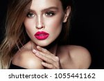 beauty makeup. woman with... | Shutterstock . vector #1055441162