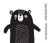 sad  frightened bear cub is... | Shutterstock .eps vector #1055442785