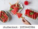 delicious watermelon summertime ... | Shutterstock . vector #1055443586