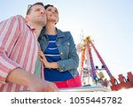 portrait of beautiful tourist... | Shutterstock . vector #1055445782