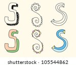 doodle hand drawn alphabet in... | Shutterstock .eps vector #105544862