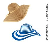 women's summer hat. vector... | Shutterstock .eps vector #1055458382