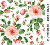 seamless floral pattern with... | Shutterstock . vector #1055458385