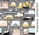 seamless pattern with cute cars.... | Shutterstock .eps vector #1055467025