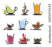 set of splash silhouette cup of ... | Shutterstock .eps vector #1055474195