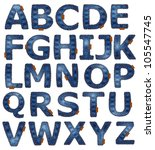 Jeans Alphabet Isolated. Vecto...