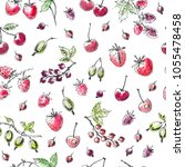 hand drawn summer berry... | Shutterstock .eps vector #1055478458