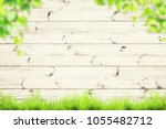 spring green grass over wood... | Shutterstock . vector #1055482712