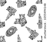 seamless pattern of hand drawn... | Shutterstock .eps vector #1055494148