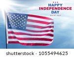 american flag waving on the sky.... | Shutterstock . vector #1055494625