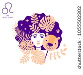 lion to leo of zodiac and... | Shutterstock .eps vector #1055502302