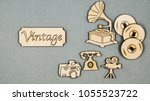 vintage flat wooden things... | Shutterstock . vector #1055523722