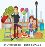 cute family happy in the picnic ...   Shutterstock .eps vector #1055529116