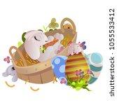 set of easter chocolate egg... | Shutterstock . vector #1055533412
