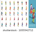 set of isometric 3d people in... | Shutterstock .eps vector #1055542712