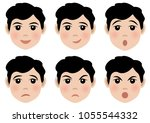 set of cute faces with... | Shutterstock .eps vector #1055544332