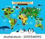world map animals. europe and... | Shutterstock .eps vector #1055548592