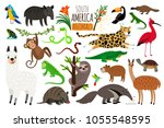 south america animals. vector... | Shutterstock .eps vector #1055548595