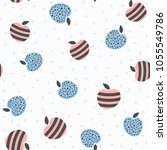 seamless pattern with apples.... | Shutterstock .eps vector #1055549786