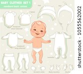 cute little baby in diaper as... | Shutterstock .eps vector #1055562002