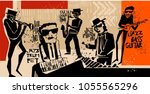 cool vintage vector of jazz... | Shutterstock .eps vector #1055565296