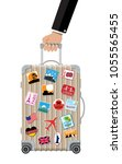 travel bag in hand. plastic... | Shutterstock .eps vector #1055565455