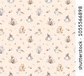 Stock photo baby animals nursery isolated seamless pattern with bannies watercolor boho cute baby fox deer 1055566898